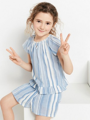 Striped Set with Blouse and Shorts White