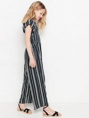 Striped Viscose Jumpsuit Black