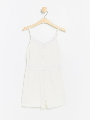 Jumpsuit with Crochet Details White