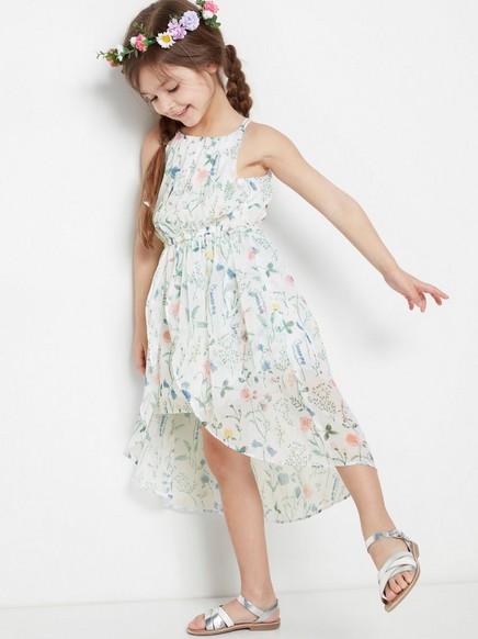 Asymmetrisk kjole med blomstermønster Rosa