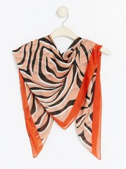 Scarf with Animal Print  Orange