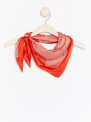 Striped Satin Scarf  Red