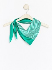 Striped Satin Scarf  Green