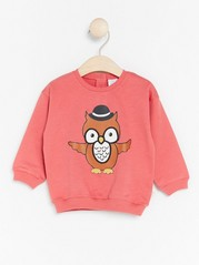 Sweater with Owl Coral