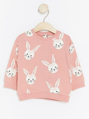 Sweater with Rabbits Pink