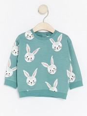 Sweater with Rabbits Turquoise