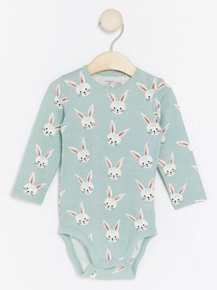 Bodysuit with Rabbit Pattern Aqua