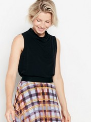 Sleeveless top with draping  Black
