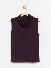 Sleeveless top with draping  Lilac