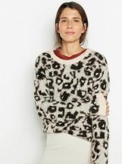 Strikket leopardmønstret genser Beige