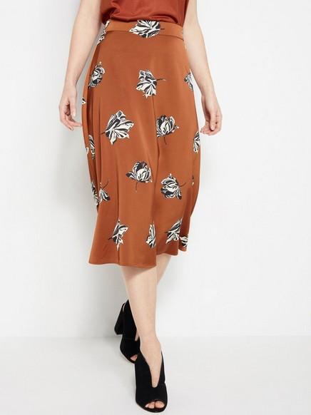 Květovaná áčková sukně Oranžová