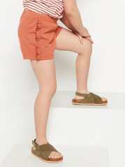 Jersey shorts with frills Beige