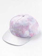 Flat peak cap with glitter Pink