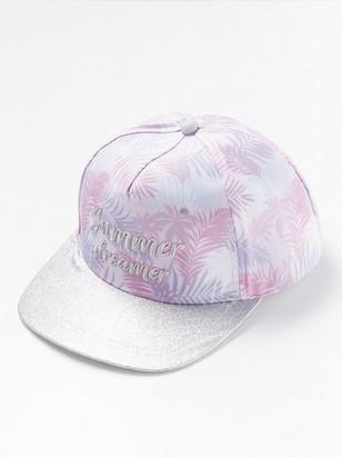 Flat peak cap with glitter Pink
