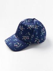Sininen lippis, jossa kukkia Sininen