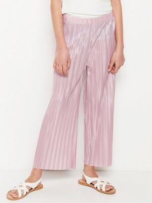Vaaleanpunaiset laskostetut housut Vaaleanpunainen