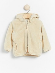 Beige pile jacket with hood and ears Beige