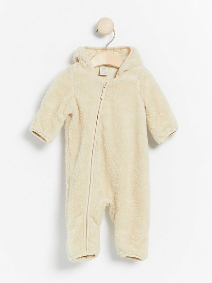 Beige pile overall with ears Beige
