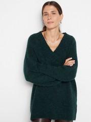 Oversize stickad tröja i alpackablandning Aqua