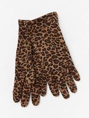 Leopardmønstrede, fôrede jersey-hansker Brun
