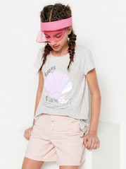 Tencel®-sekoitteesta valmistettu t-paita, jossa käännettäviä paljetteja Harmaa