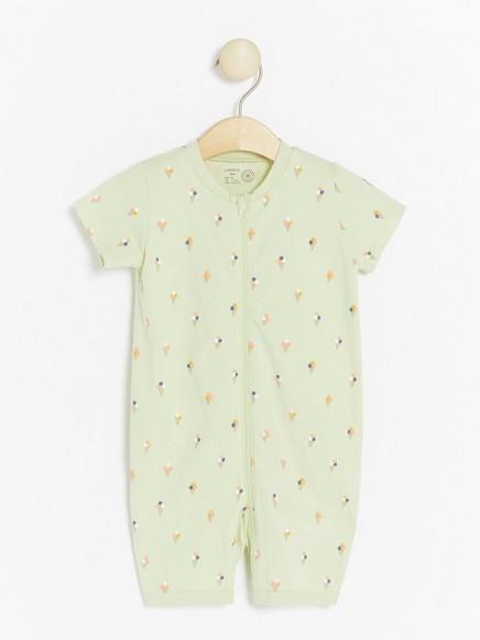 Ljusgrön pyjamas med glassar Grön