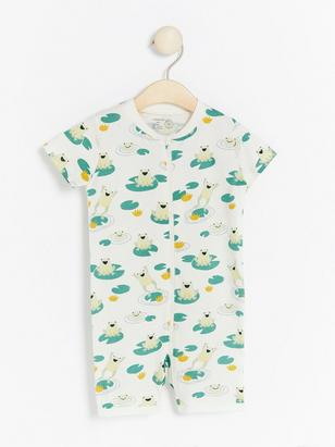 Romper pyjamas with frogs White