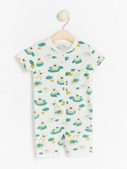 Pyjamas i sparkebuksedesign med frosker Hvit
