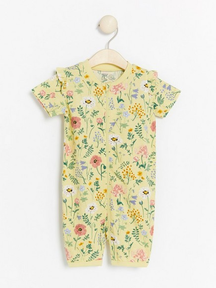 Pyjamas med blomster og rysjer Gul