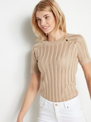 Knitted Short Sleeve Sweater with Lurex  Beige