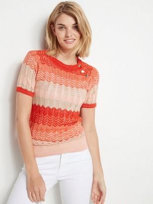 Strikket, kortermet genser med lurex Oransje