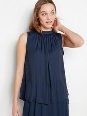 Dark Blue Sleeveless Blouse  Blue