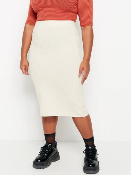 Beige fine-knit ribbed skirt Beige
