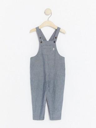 Striped Woven Bib Trousers Blue