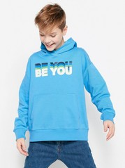 Sweatshirt with Hood and Text Blue