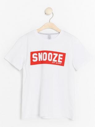 Pyjamas t-shirt med texttryck Vit