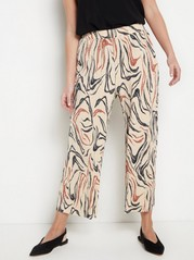 Pleated Cropped Trousers  Beige