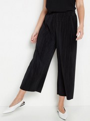 Pleated Cropped Trousers  Black
