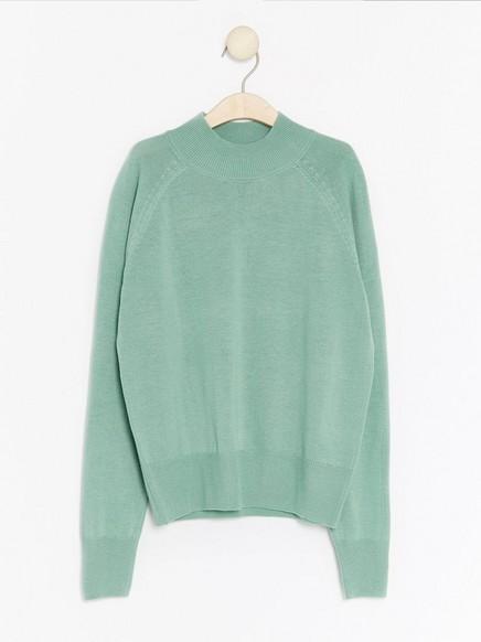 Strikket genser med kort krage Grønn