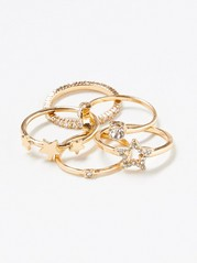 5-pack Rings with Rhinestones Yellow