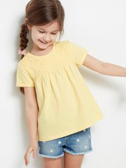 Top with Hole-embroidery Yellow