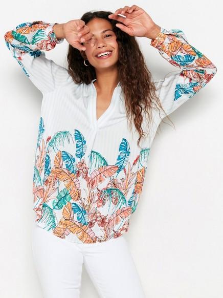 Løs bluse med striper og blomster Oransje