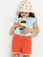 Jersey top with ice cream in reversible sequins Turquoise