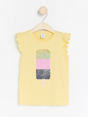 Jersey top with ice cream in reversible sequins Yellow