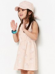 Sleeveless jersey dress with pattern Pink