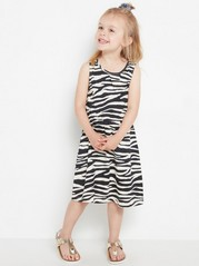 Sleeveless jersey dress with pattern Black