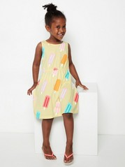 Sleeveless jersey dress with pattern Yellow