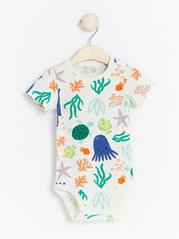 Patterned short sleeve bodysuit White