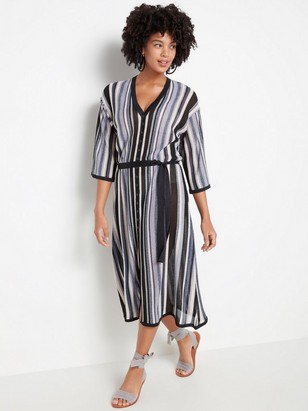Striped knitted dress with tie belt  Black