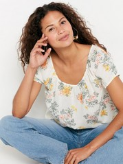 Short Sleeve Cotton Blouse  Yellow